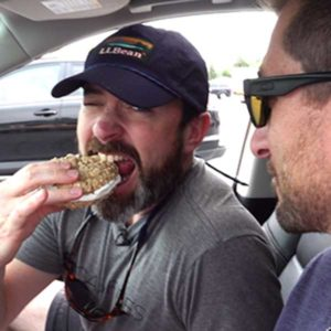 Clint takes his first bite of a whoopie pie - the official snack food of Maine.