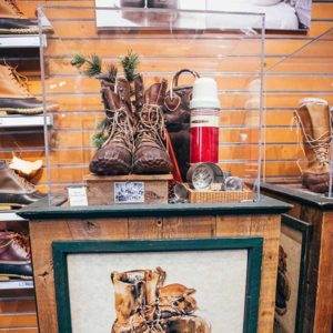 Historial display of early Maine Hunting Shoes -- the product that launched L.L. Bean.