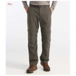 product shot of model's legs facing camera wearing olive drab L.L. Bean Timberledge Zip-off Pants against white background
