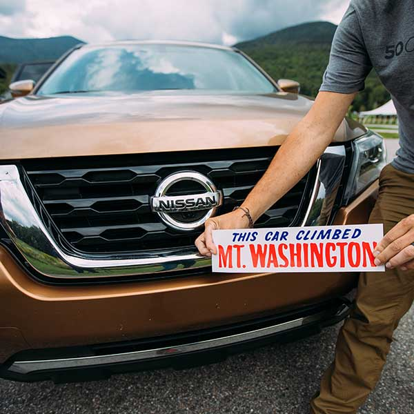 "Team 50 Campfires and the Nissan Pathfinder earned that iconic bumpersticker - ""This car climbed Mt. Washington."""
