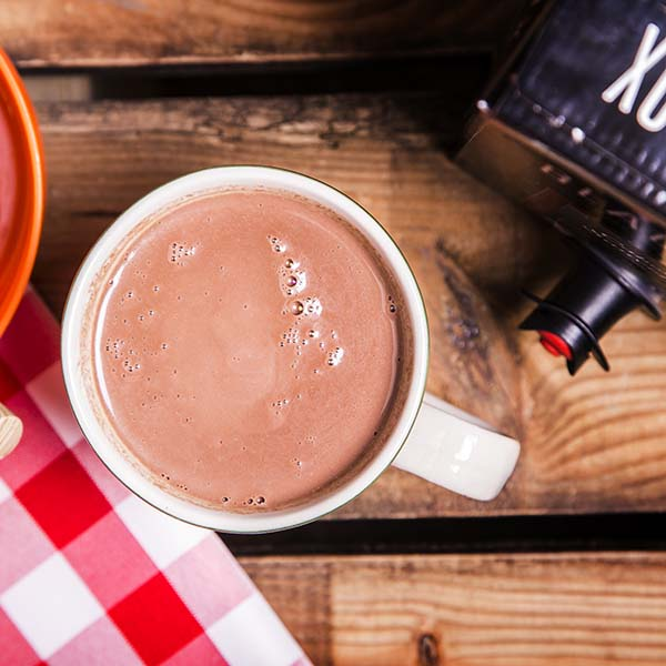 Steaming mug of Red Wine Hot Chocolate made with Black Box Cabernet Sauvignon.