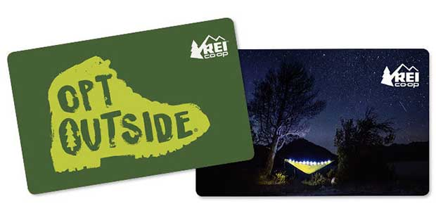 REI Gift Cards in $25 increments