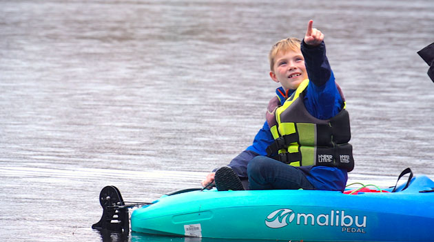 The Last Of The Open Water Young Boy Points To Eagles Fall Kayaking