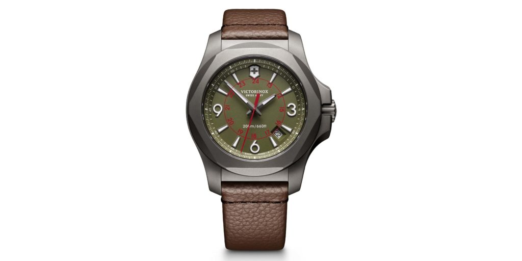 Victorinox Swiss Army I.N.O.X Titanium Leather Watch with olive drab face