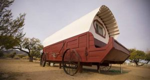 A glamping option at Nevada's Sandy Valley Ranch is a specially built covered wagon.
