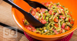 Prickly pear cactus salad is fresh and bright with tomatoes, nopales, and lots of cilantro, plus lemon juice.