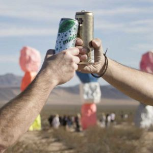 A toast to mint soda and space punch before they go down the hatch on the roadside food challenge.