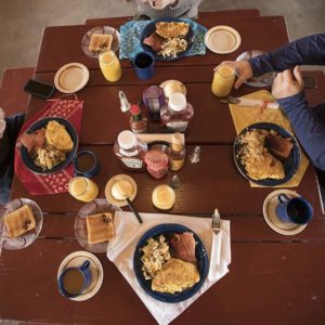 Hearty ranch breakfast is available to all guests at Sandy Valley Ranch listed on Airbnb.