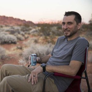 Nick with Fathom IPA awaiting sunset at Valley of Fire State Park.