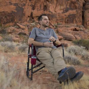 Nick is set up to watch the sunset show at Valley of Fire State Park in Nevada.