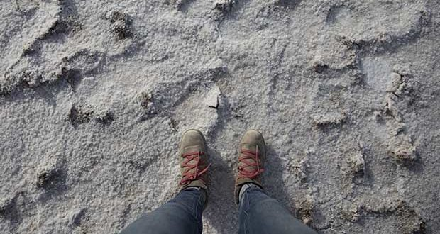 In Death Valley's Badwater Basin every inch is covered in salt. You bring your own water.