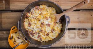 Dutch oven cheesy potatoes feature image.