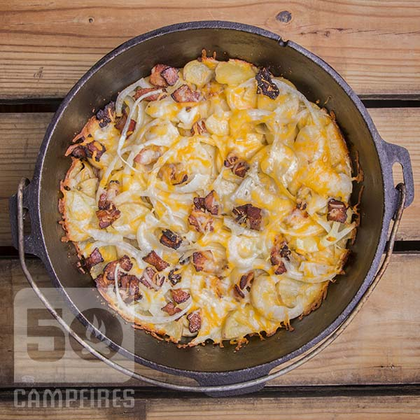 Dutch Oven Cheesy Potatoes are pure comfort food at the campsite or at home.