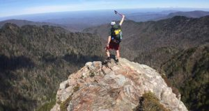 Owen Rachampbell of Darn Tough Socks in Smoky Mountains National Park on Charlies Bunyon.