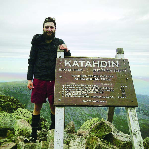 Owen Rachampbell of Darn Tough Socks on Katahdin Mountain in Maine.