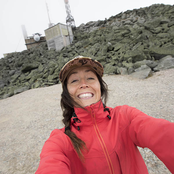 Kylie Fly selfie taken at the summit of Mount Washington.