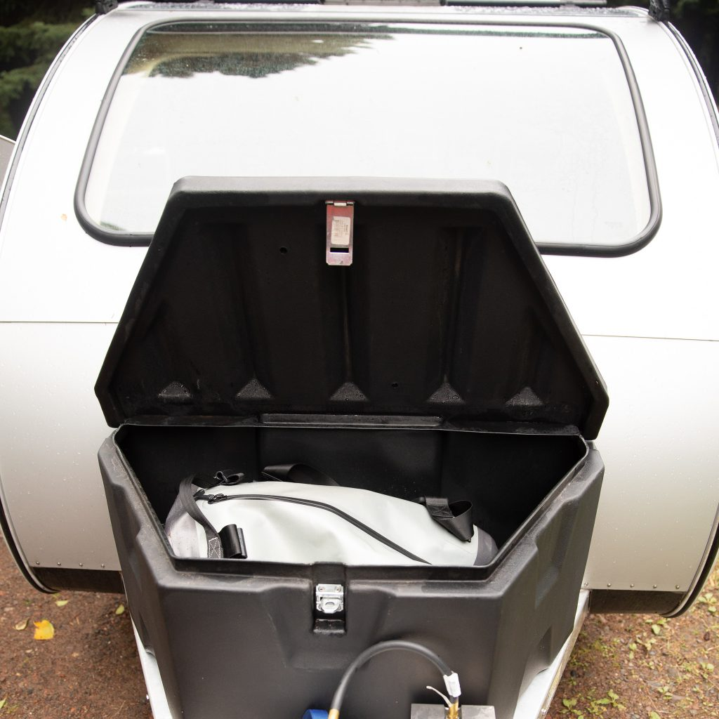storage compartment on the vistabule teardrop trailer