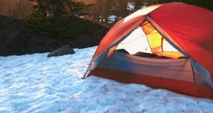 winter camping in a tent